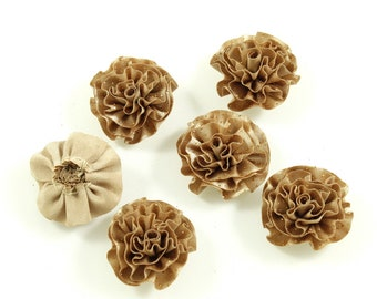 Set of 6 flower satin fabric and glitter - beige