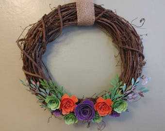 "16"" Spring Wreath with Grapevine and Paper Flowers"