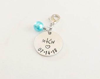 Personalized Bridal Bouquet Charm - Bride Gift - Monogram Bouquet Charm - Something Blue for Bride - Wedding Bouquet Charms