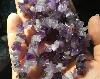 AMETHYST Quartz Gemstone Chip Necklace tumbled gem chips 36 inches crown chakra