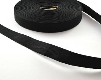 Twill cotton 14.5 mm black ribbon