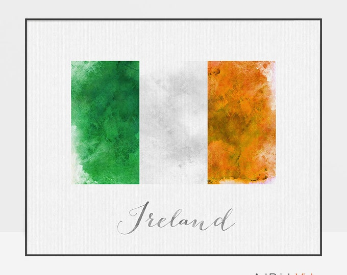 Ireland flag watercolour poster, Ireland wall art print, Ireland art, watercolor flag, typography, office decor, Home Decor, ArtPrintsVicky