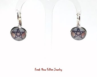 Wiccan colorful pentacle lever back earrings