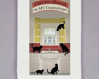 tea towel - dish towels - flour sack towel - kitchen decor -kitchen signs -kitchen towels -gifts for mom -CATS ARE ALLOWED On My Countertops