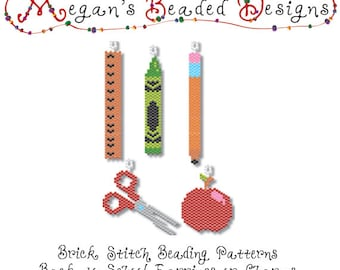 Back to School Brick Stitch Beading Patterns for Earrings or Charm - Instant Download PDF