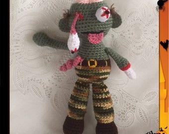 Zombie Amigurumi - Hand Crocheted - zombie doll