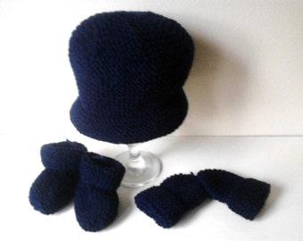 Fliegermütze Booties Und Handschuhe Für Neugeborene
