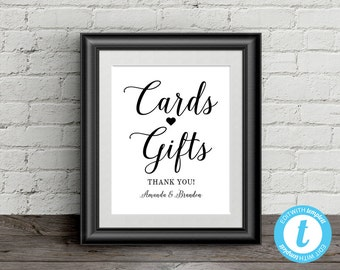 Cards and Gifts Sign Wedding Template, 8x10 Gift Table Sign, Fully Editable Sign, DIY Cards & Gifts Sign with Thank You and Bride and Groom