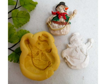 Snowman silicone mold, snowman mold, silicone Christmas mold, food mold. craft mold, soap mold,clay mold, # 19 s