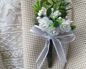 White boutonniere,  White wedding, White prom,