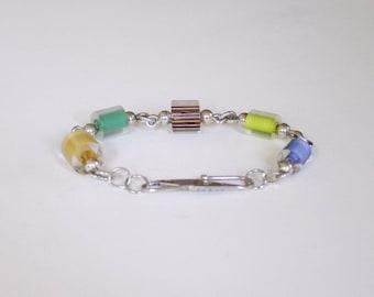 Handmade Bracelet, Sterling and Cane Beads