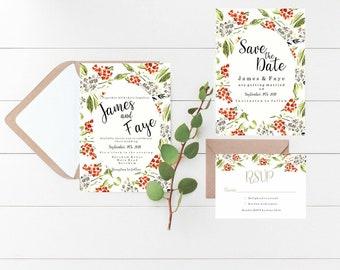Orange & Grey wedding invitation//handmade//custom