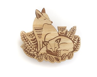 Foxes in the forest brooch ~ woodland laser cut brooch