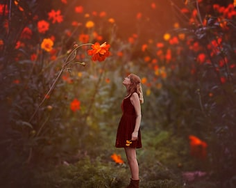 Fall Friends - Autumn Image - Whimsical Art - Conceptual Photography - Fine Art Print - Wildflowers