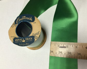 8 Yards of Double Faced Green Satin Ribbon 3 inch wide.Royal Swan woven edge. Rayon Satin