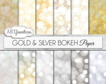 "Digital papers bokeh ""Gold & Silver Bokeh"" Bokeh Overlay, Gold digital backgrounds, Bokeh Background for Photographers, invitations and more"