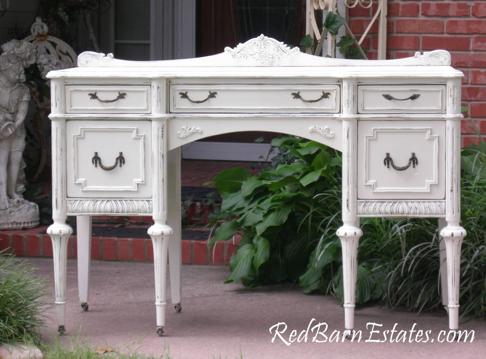 Very best ANTIQUE DESK Custom Refinished To Order! Hand Painted Reclaimed  TF27