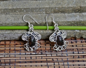 Balinese Sterling Silver Carved Topaz Earrings