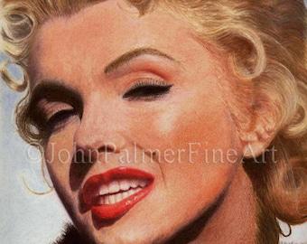 Marilyn Monroe painting, Marilyn Monroe picture, Marilyn Monroe print from my original pastel painting.
