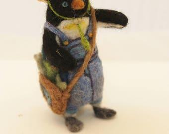 Needle Felted Penguin, Farmer Penguin, Felt Penguin # 2765