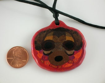 Dog necklace, Puggle necklace, pendant, polymer clay jewelry, Sculpey pendant, Winston