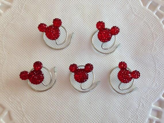 Disney Wedding-MOUSE EARS Hair Swirls--Bright Red Acrylic-Bridal Party-Cinderella Gift