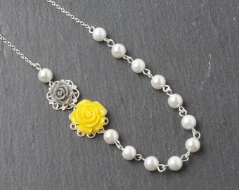 Yellow and grey bridesmaid necklace, rose and pearl necklace, grey and yellow wedding, bridesmaid gift, flower girl necklace, made in Canada