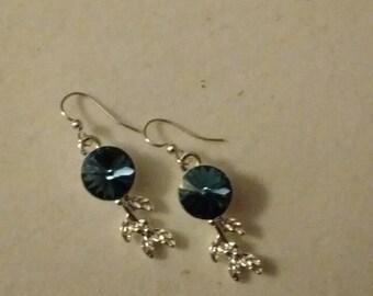 Denim blue crystal, silver falling leaf earrings
