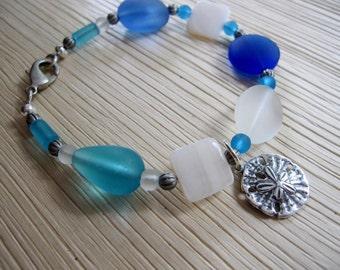 Blue Sea Glass Bracelet, Shell Bracelet, Sand Dollar Charm, Nautical, Chunky Beads, Frosted Glass, Beach Bracelet, Redpeonycreations