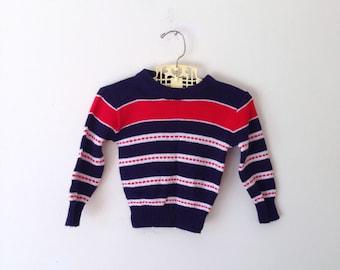 Vintage Bold Striped Knit Sweater (Size 12 Months)