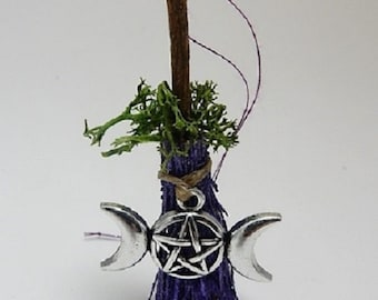 Witch's Besom broomstick with wiccan triple moon charm to use as an altar decoration or hanging charm for protection of the home/car