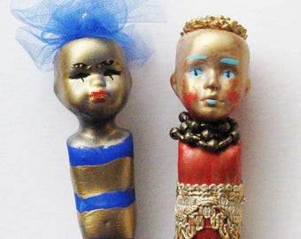 Art doll, hand painted, hand decorated
