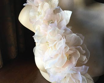 SALE - Pink Blush Silk Rose Corsage for Bridal, Millinery, Sashes, Garments