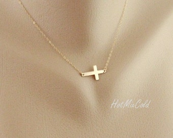 Sideways Cross Necklace / Silver Cross Charm Necklace 14k GOLD FILL Sideways Cross / Simple Daily Jewelry, Birthday, Mothers Necklace