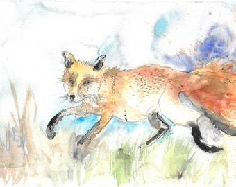 Fox - original watercolor wildlife painting