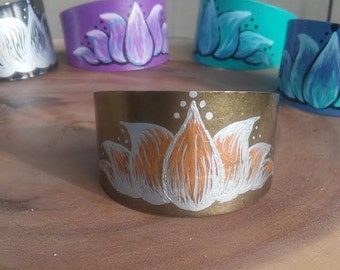 Hand Painted Brass Metal Lotus Flower Cuff