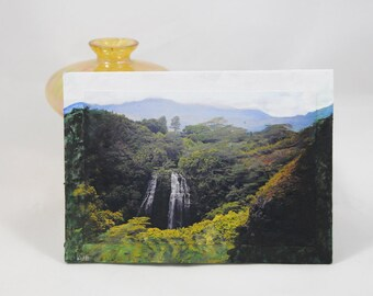 Hawaii Mixed Media Art Plaque Green Mountain Scene Tropical Waterfall Painting Nature Photography Desk Decor Island Scenery Kauai Picture