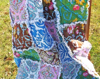 Floral Lap Rag Quilt - Lap Rag Quilt - blue, brown, yellow, green, pink - Gift for Her - Mother's Day Gift