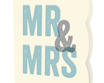 Blocky Mr & Mrs Letterpress Wedding Congratulations Card • LP727