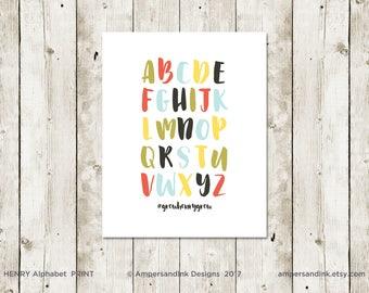 Alphabet Nursery Print, Wall Decor, Home Decor, 8 x 10 print