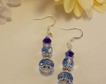 Earrings; Blue Crystal Earrings; Cobalt Earrings; Silver Earrings