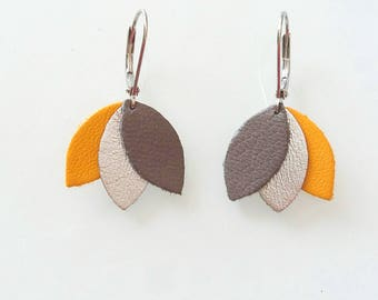 Earrings - yellow, gray and silver leather and silver - Peony Agathe and Ana