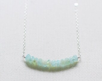 """tropical blue and green necklace - simple silver faceted beaded necklace, light blue sterling silver necklace - """"aruba"""" handmade necklace"""