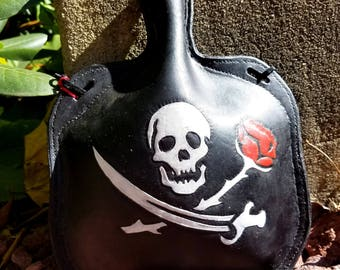 READY TO SHIP Leather Bottle with Jolly Roger - Pirate Skull Cross bones and Rose Hand Tooled Hand Stitched Large Leather Flask
