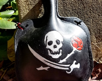 Leather Bottle with Jolly Roger - Pirate Skull Cross bones and Rose Hand Tooled Hand Stitched Large Leather Flask