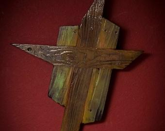 "Handmade Wooden Cross, Sign,  Vintage/Reclaimed Wood 33""X 23 1/2"""