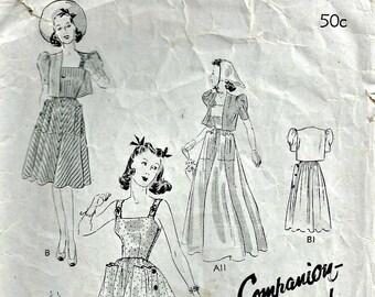 Butterick 8938 1940's Sundress and Bolero Pattern Companion Size 14 Bust 32