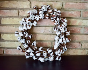 Faux Cotton Wreath