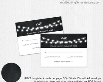 String lights Wedding rsvp| RSVP template| response card| rsvp card| Instant download| You edit the text| T117