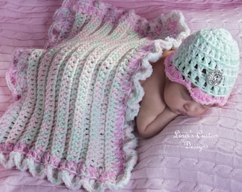 Baby Girl Shower Gift, Girl Crochet Baby Gift Set, Pink Mint Green Baby Hat and Matching Prop Stroller Blanket, Unique Baby Gift, Pink Mint